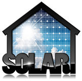 Solar House with Solar Panel. 3D illustration of a black solar house with a solar panel inside with blue sky, clouds and sun rays. Isolated on white background Royalty Free Stock Images