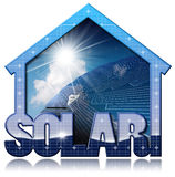 Solar House with Solar Panel. 3D illustration of a blue solar house with a solar panel inside with blue sky, clouds and sun rays. Isolated on white background Stock Image