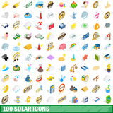 100 solar icons set, isometric 3d style. 100 solar icons set in isometric 3d style for any design vector illustration Stock Image