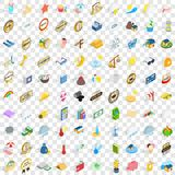 100 solar icons set, isometric 3d style. 100 solar icons set in isometric 3d style for any design vector illustration Royalty Free Stock Image