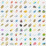 100 solar icons set, isometric 3d style Royalty Free Stock Image