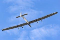 Solar Impulse 2 is een Zwitsers ontwikkeld lange afstand experimenteel zonne aangedreven vliegtuig met de registratie hb-SIB stock foto's