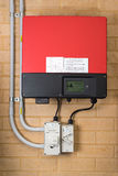 Solar inverter system attached to a wall Stock Photos
