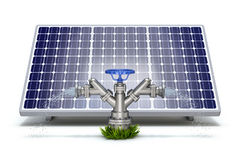 Solar irrigation concept. With solar panel and water hydrant Royalty Free Stock Images