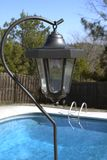 Solar Lamp. At pool side Stock Photos