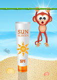 Solar lotion on the beach Stock Images
