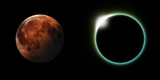 Solar and Lunar Eclipses. A total solar and Lunar eclipse side by side Stock Photography