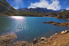 Solar midday. Sparkling azure lake Royalty Free Stock Images