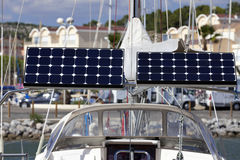 Solar module on a sailing boat Stock Photography