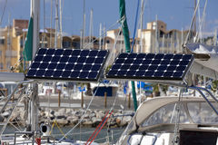 Solar module on a sailing boat Royalty Free Stock Photography