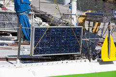 Solar module on a sailing boat Royalty Free Stock Photo