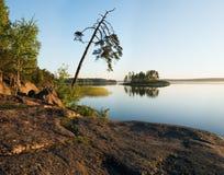 Solar morning on lake. Russia, Vyborg, Kareliya, morning on lake Royalty Free Stock Photo