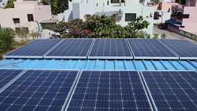 Solar nature energy at home. Home solar power plant using renewable solar energy with sun stock video