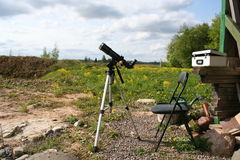 Solar observation telescope. Solar observation in telescope at rural site stock image
