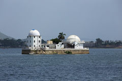 Solar observatory situated between a lake Stock Photography