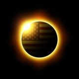 Solar- oder Mondfinsternis und amerikanische Flagge Vektor lizenzfreie abbildung