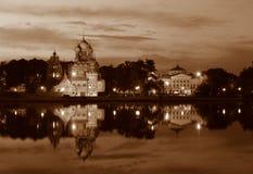 Solar Ostankino e igreja. fotografia de stock royalty free