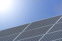 Solar panel. Light shinning on a solar panel Royalty Free Stock Image