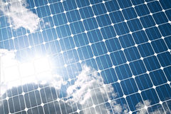 Solar panel. The sunny sky is reflected, in the solar panel Royalty Free Stock Photos