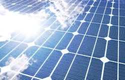 Solar panel. The sunny sky is reflected, in the solar panel vector illustration