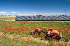 Solar panel. S in springlike landscape with poppies Stock Photos