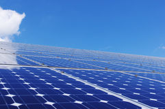 Solar panel. Photovoltaic solar panel and blue sky. Renewable, clean energy and environmental conservation Stock Image
