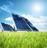 Solar panel. In the green Stock Photos