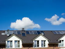 Solar Panel. On a roof and blue sky Royalty Free Stock Photo