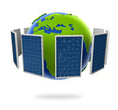 Solar panel. Green energy from the sun. Globe in the middle. Surface with s Stock Photos
