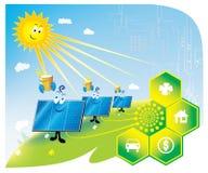 Solar panel. Technologies of the saving to energy on land, solar batteries Royalty Free Stock Photos