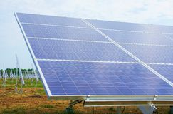 Solar panel. Construction and a blue sky Royalty Free Stock Photo
