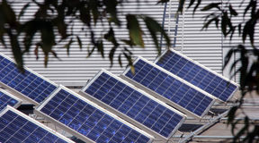 Solar panel. System of many blue solar panels on the roof Royalty Free Stock Image