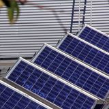 Solar panel. System of many blue solar panels on the roof Royalty Free Stock Photos