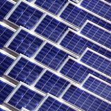 Solar panel. System of many blue solar panels on the roof Stock Image
