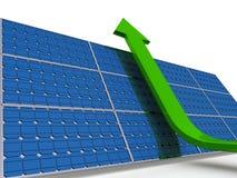 Solar panel. Green arrow going upwards along solar panel Stock Photo