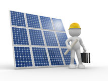 Solar panel. 3d people - human character , person with briefcase and helmet. Engineer and a solar panel . 3d render illustration Royalty Free Stock Photography