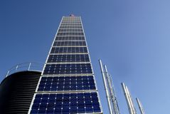 Solar panel. At industrial plant; blue clear sky at background Stock Images