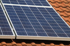 Solar Panel. Detail of solar panel on house roof in UK Stock Photos