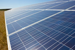 Solar Panel. In a field of wheat Royalty Free Stock Photos