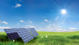 Solar panel. Spring landscape with solar panels Stock Photos