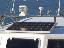 Solar panel. Solar charging batteries aboard a sail boat Photovoltaic panels energy concept Royalty Free Stock Images