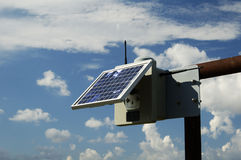 Solar panel. S provide the electric power to run the monitoring equipment on a pipeline in the texas panhandle royalty free stock photo