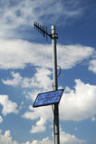 Solar panel. S provide the electric power to run the monitoring equipment on a pipeline in the texas panhandle royalty free stock image