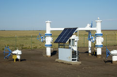 Solar panel. S provide the electric power for the monitoring equipment on a pipeline in the texas panhandle Royalty Free Stock Images