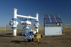 Solar panel. S provide the electric power for the monitoring equipment on a pipeline in the texas panhandle Stock Photo