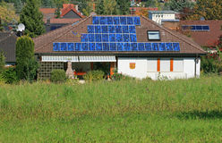 Solar Panel. This image shows a solar panel with houde at background stock photography