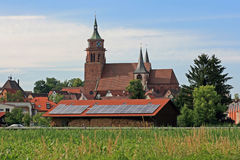 Solar Panel. This image shows a solar panel with catholic church at background stock photo