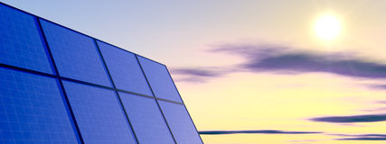 Solar Panel. 3d solar panel background with sky Stock Images