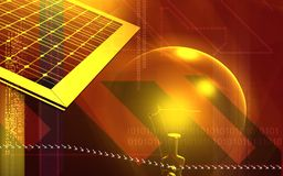 Solar panel. Digital illustration of a solar panel and electric bulb Stock Photography