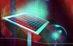 Solar panel. Digital illustration of a solar panel and electric bulb Stock Photos